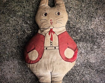 Decades Of Love Antique Handmade Fabric Dressed Rabbit Doll