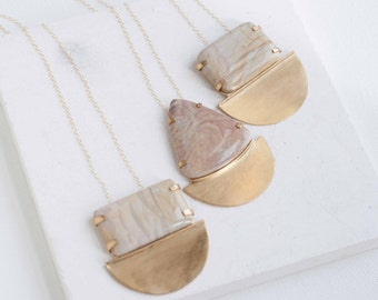 Picture Jasper + Brass Semicircle Necklace  | Limited Edition