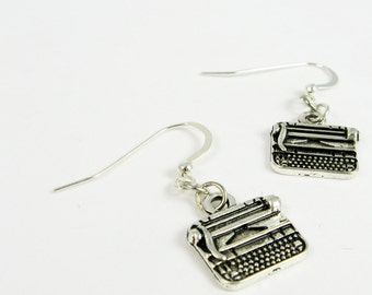 Typewriter Earrings (Retro Jewelry for Writers, Vintage Style Geekery for Novelist Gift)