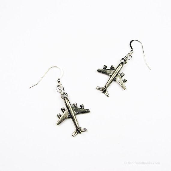 Airplane Earrings (Travel Jewelry) - Gift for World Traveler, Pilot, Flight Attendant