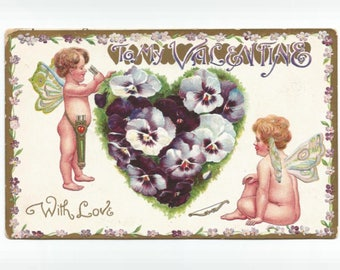 Antique Valentine Postcard - B.B. London Germany - angels, pansies, gilt accent = 1910
