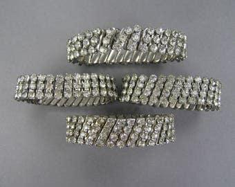 Vintage Rhinestone Bracelets, Stretch Bracelet, Repurpose Lot, Expansion, Destash Lot, Repair