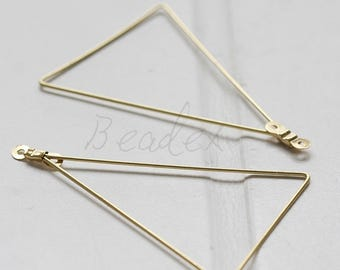 20 Pieces / Raw Brass / Pendant / Charm / Earring Component / Triangle New Style(C1911//S154)