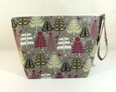 Knitting Project Bag - Large Zipper Wedge Bag in Holiday Trees Quilting Fabric with Red and Silver Polka Dot Cotton Lining