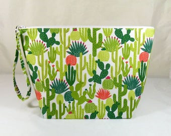 Knitting Project Bag - Large Zipper Wedge Bag in Colorful Catcus Quilting Fabric with Coral and White Cotton Lining