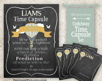 Up & Away Time Capsule Sign and Notes- Time Capsule Party Decor- Baby Shower Idea- Shower Decor- Hot Air Balloon Birthday-  Custom Prints