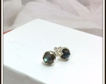Sterling silver stud earrings Labradorite Rose cut 8mm Post earrings