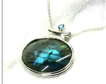 OOAK Sterling silver  Aquamarine Double domed Labradorite pendant spectacle setting