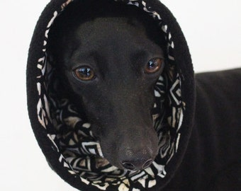 ONE Only - Large standard EXTRA* (larger chest*) Black Jammies with Batik Print jersey lined Snood/Neck Warmer  for Italian Greyhounds