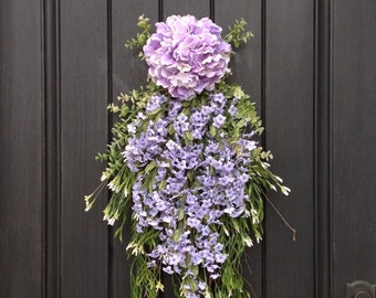 Spring Wreath-Summer Wreath-Teardrop Vertical Door Swag Decor-Purple Hydrangea-Wispy-White/Lilac Floral Swag Floral Door Decoration