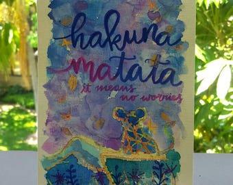 Hakuna matata Watercolor Calligraphy Art