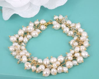 Amy- Freshwater Pearl and Rhinestone Bridal Bracelet