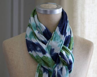 Linen Scarf with Frayed Ends, Linen Scarf, Spring Summer Scarf, Tie Dye Shawl, Eco Friendly Flax Scarf, Shawl, Blue Green White
