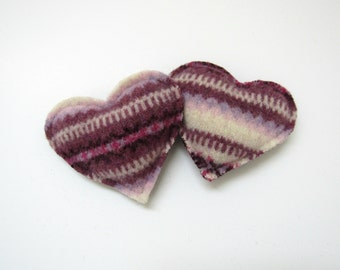 Felted Wool Hand Warmers Recycled Wool Pinks and Plum Fair Isle Pocket Heart Handwarmer