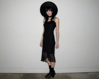 Black RUFFLE 90s Goth DRESS Sparkle Shimmer Maxi Womens Vintage Size S/M