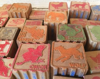 Collection of 38 mixed Vintage Alphabet Blocks