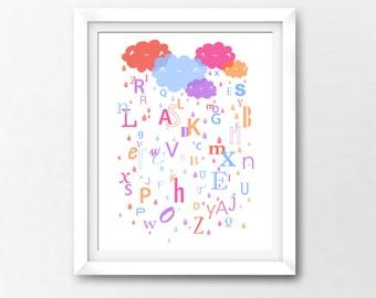 Alphabet Clouds Wall Art Nursery Printable, Girls Kawaii Art, Instant Download Illustration by Sleepy Cloud Studios