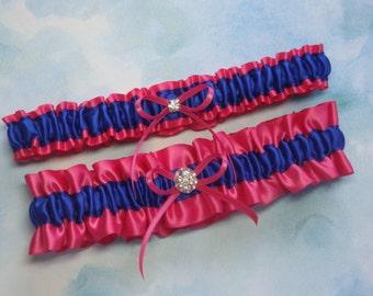 Hot Pink and Royal Blue Satin Garter Set