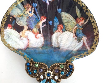 Fairy Rides And Fantasies Large Shell Jewelry Dish Trinket Dish  Shell Dish Collectable Ring Dish Jewelry Storage