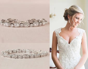 Bridal Bracelet, Crystal Wedding Earrings, Vintage style Bridal Jewelry, Swarovski, Bridal Jewelry SET, Marisa Bridal Bracelet