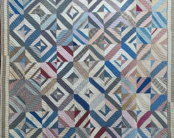 Amazing Strip Diamond Quilt Large Variety Of Fabrics Antique Vintage Calicos
