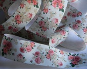 "Floral Print Ribbon 5 yards 1.5"" Off White Grosgrain Ribbon Pink & Beige Flowers Security Blanket Wedding Baby Shower Favor Ties Valentines"
