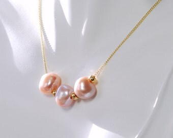 Gold Filled Pearl Necklace by Agusha. Pink Nugget Pearl Necklace. Pearls on Chain Necklace. Pearl Choker