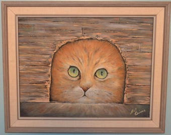 Original oil On Board Cat Through a Mouse Hole Signed