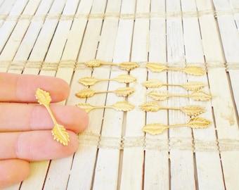 Vintage Leaf Bail, DIY pendants, Fold over bails, Gold OR Silver Finish, pendant Finding, Vtg bails Lot, 35mm X 7mm, Lot of 10 pcs