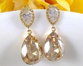 35% OFF Champagne Gold Earrings - Swarovski Crystal Teardrop Bridal Bridesmaids Golden Shadow Cubic Zirconia Dangle Earrings