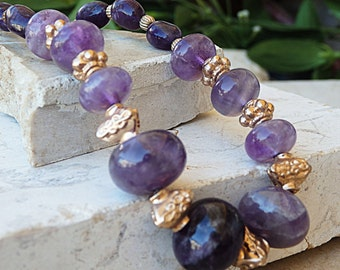 Bead strand necklace, Amethyst beads Necklace. Beaded necklace, Chunky bead necklace, Genuine amethyst, Ooak necklace, Beach necklace