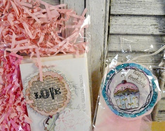 Happy Birthday goodies - tags papers embellishments wearable pin