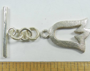 Sterling Silver Toggle Clasp, tulip flower with brushed silver, one clasp set, (SSC-17)