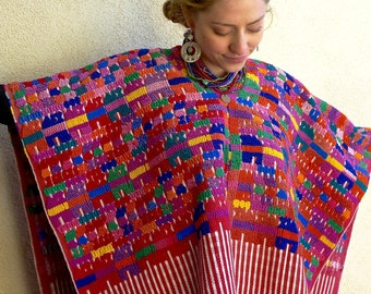 "Guatemalan vintage Sacatepecez heavy wide huipil over poncho warm reds elegant boho Frida Kahlo  34""wide x 28"" Long"