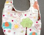 Organic Chenille Baby Bib, Gender Neutral Lined Bib
