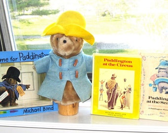 Vintage Paddington Bear Puppet and Paddington Books/Paddington at the Seaside/Paddington at the Circus/ A Home for Paddington  Michael Bond