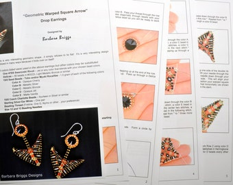 "Tutorial for the ""Geometric Warped Square Arrow"" Drop Earrings And Variations"