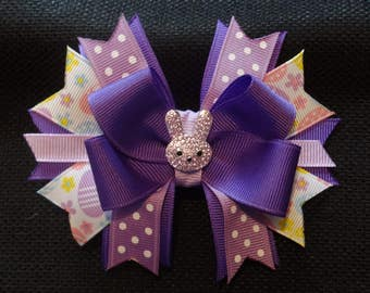 Purple Easter bunny bow, 4 inch with rhinestone bunny center