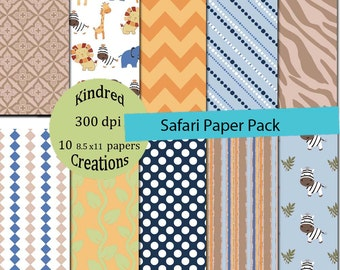 Safari Digital Papers 8.5x11 with Chevron, lion, monkey and polka dots Commercial Use Instant Download