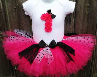 Hot Pink and Black Lace First Birthday Tutu Set and Headband |  Other Colors and Numbers Available | First Birthday, Second Birthday
