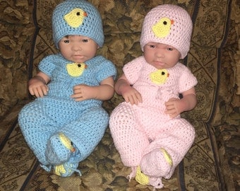 Crochet Twin Baby Sets, 2 Hats, 2 Onesies, 2 Pants, 2 Booties, Made to Order, Free US Shipping