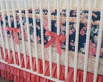 SUMMER SALE-- Girl Crib Bedding- Baby Bedding- MADE To Order- Custom Navy and Coral Bedding- Nisi Flora Oceanon