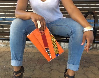Ankara and Faux Leather Envelope Clutch Bag