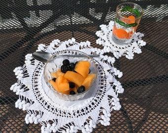 12 Vintage Doilies Linen Set Berry BReakfast Lemonade Mats Coasters