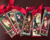 Reserved for Patti 6-Handmade Victorian Santa Tags Last Set
