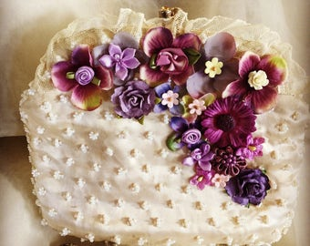 Vintage Satin and Beaded Clutch with Shades of Violet
