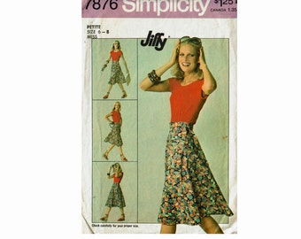 1970 wrap skirt size petite extra small 6-8 Or Size Small 10-12 Miss Skirt Wrap around Sewing Pattern Simplicity 7876 Jiffy pattern