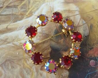 Vintage Ruby Aurora Signed Austria Rhinestone Brooch Pin