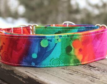 Rainbow Dog Collar, Colorful Dog Collar, Summer Dog Collar, Tie Dye Dog Collar, Dog Collar for Girls, Girl Dog Collar, Fabric Collar,