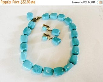 MASSIVE CLEARANCE Beautiful Vintage Gold Tone Metal Signed Trifari Chunky Turquoise Blue Necklace and Earrings
